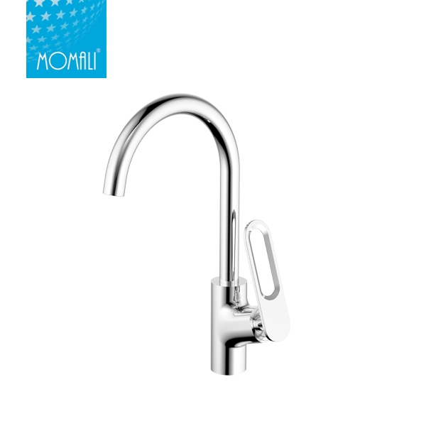 Factory wholesale brass body long neck water ridge kitchen faucet