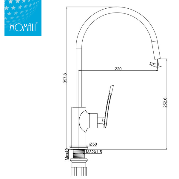 Momali high cheap well design single handle kitchen sink tap